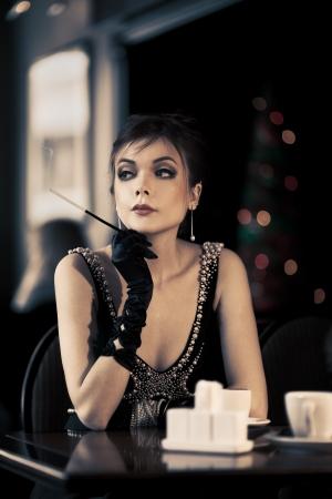 Beautiful Retro Lady In Cafe photo