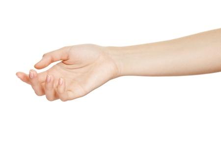 manos limpias: Mano vac�a mujer abierta en el fondo blanco