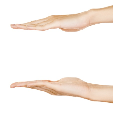 long and short scales: Showing hands isolated on white.