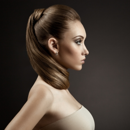 Beautiful Woman Portrait. Long Brown Hair Stock Photo - 14796320