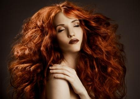 Beauty Portrait. Curly Long Hair  Stock Photo