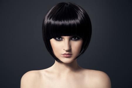Hair.Hairstyle Beautiful Brunette Girl.Healthy.
