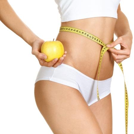 woman sport: Woman measuring her waistline. Perfect Slim Body. Diet