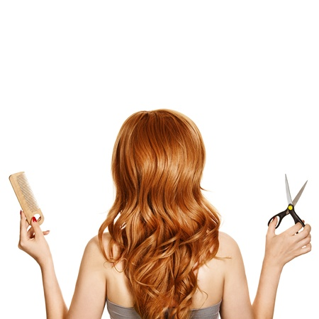 Beautiful curly hair and hairdressers tools  photo