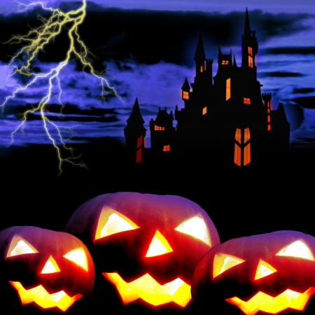 Castle and three pumpkins in night Stock Photo - 15028264