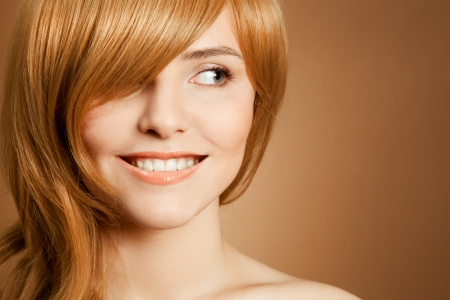 Beautiful smiling woman portrait photo