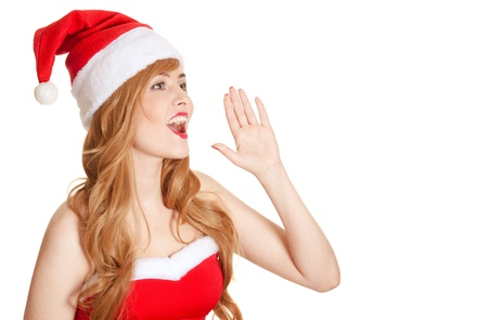 Young Beautiful Woman In Santa Hat Screaming Stock Photo - 16140327