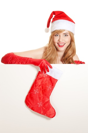 Xmas woman holding christmas stocking  photo