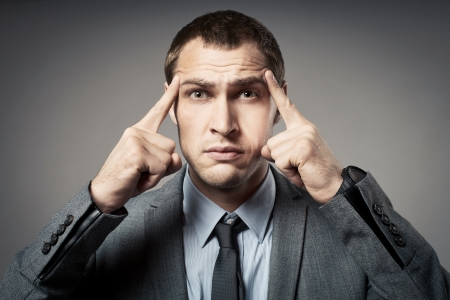 Stressed business man Stock Photo