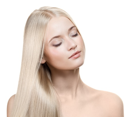 Beautiful Blonde Girl. Healthy Long Hair  Stock Photo