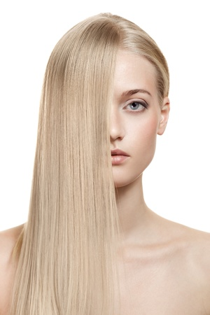 Beautiful Blonde Girl. Healthy Long Hair  photo