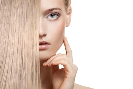 Beautiful Blonde Girl. Healthy Long Hair  Stock Photo