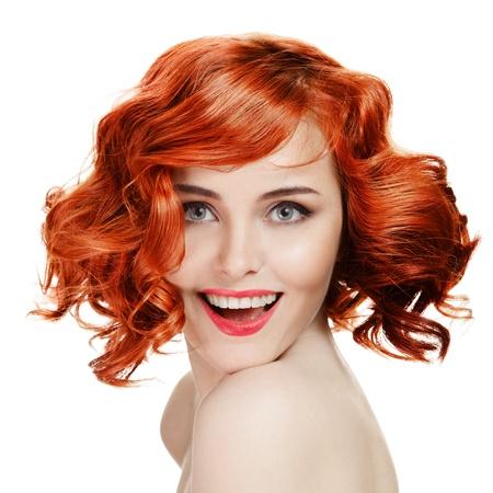 Hermosa mujer sonriente retrato sobre fondo blanco Foto de archivo