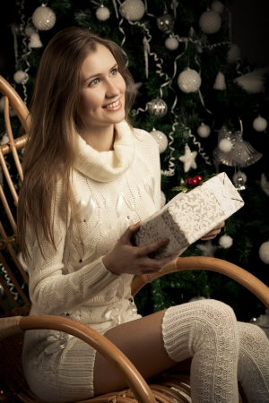Beautiful woman with gift. Christmas  decoration Stock Photo - 16732221