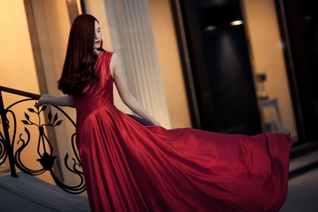 Young Beauty Famous Woman In Red Dress Outdoor Stock Photo - 16732194