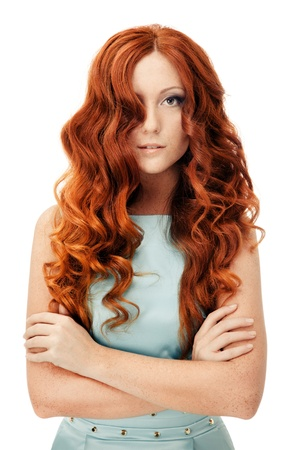 Beauty Portrait. Curly Hair. Isolated photo