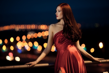 Young Beauty Famous Woman In Red Dress Outdoor Stock Photo