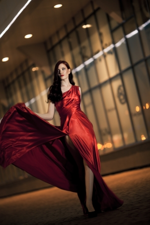 Sexy Young Beauty Woman In Fluttering Red Dress Stock Photo - 16732205