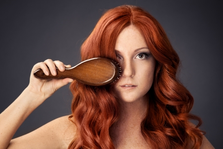 hair brush: bright picture of beautiful woman with comb