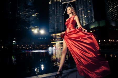 street fashion: Fashion Lady In Red Dress And City Lights