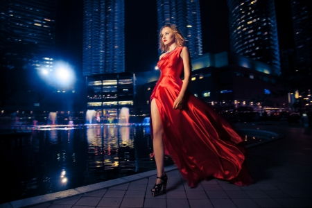 fluttering: Fashion Lady In Red Dress And City Lights