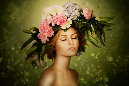 Elegance Fairy Woman In Flower Wreath photo