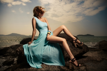 Portrait Of Fashion Woman In Blue Dress Outdoor