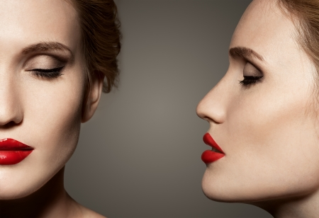 Double View Portrait Of Beautiful Woman With Bright Make-Up photo
