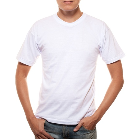 shirt template: White t-shirt on a young man template isolated on white background  Stock Photo