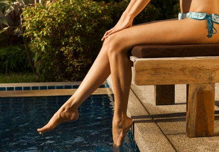 girl's beauty legs in the pool Stock Photo - 18711350