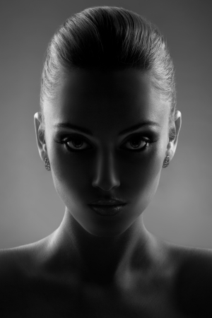 Portrait Of Beautiful Woman in Black & White
