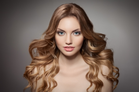 Beauty Portrait. Curly Long Hair