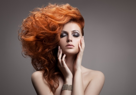 美しさの肖像画。髪型 写真素材