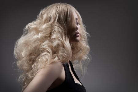Beautiful Blond Woman  Curly Long Hair Фото со стока