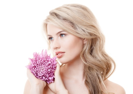 Beautiful Woman Holding Pink Chrysanthemum Stock Photo - 20141410