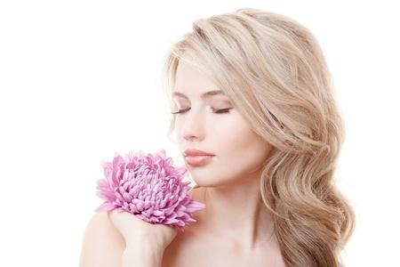 Beautiful Woman Holding Pink Chrysanthemum  photo