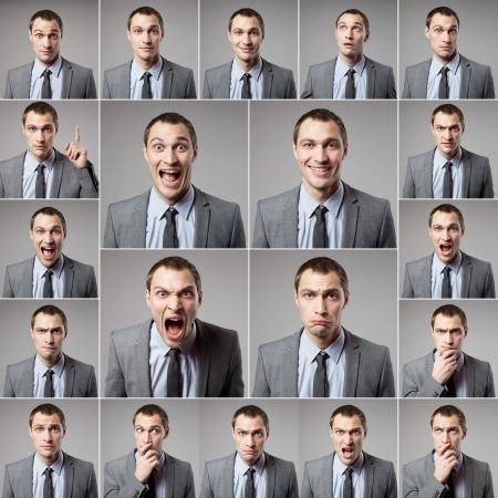 cara sorprendida: conjunto de hombre emocional hermoso sobre fondo oscuro
