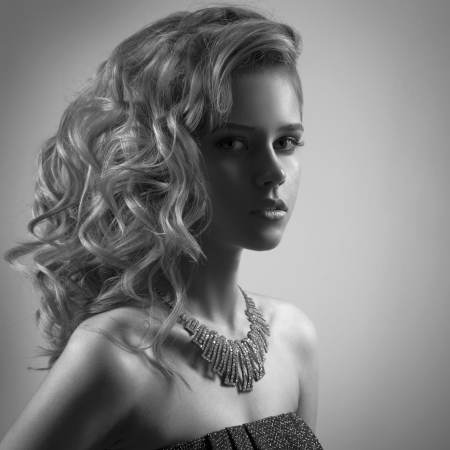 model art: Fashion Portrait Of Woman With Jewelry. BW Image