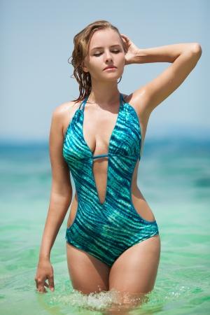 Beautiful woman in bikini at tropical sea Stock Photo - 20836553