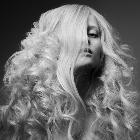 Blond Woman. Curly Long Hair. BW Fashion Image Stock Photo - 20836564