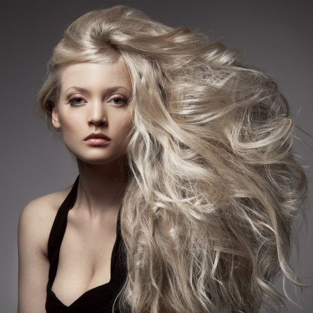 Beautiful Blond Woman. Curly Long Hair Stock Photo - 20836565