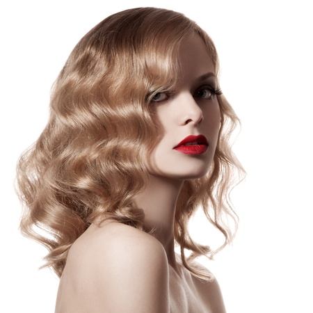 Beautiful Blond Woman. Curly Hair. White Background photo