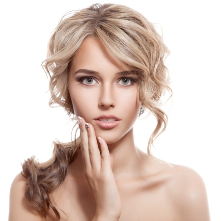 nude blonde woman: Beautiful Blonde Girl. Healthy Long Curly Hair.  Stock Photo