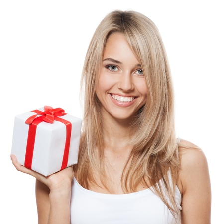 Young happy woman with a gift photo