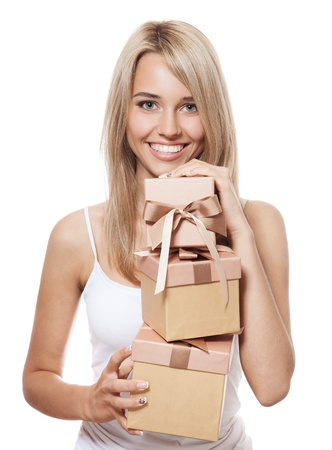 Young happy woman with a many gifts  photo