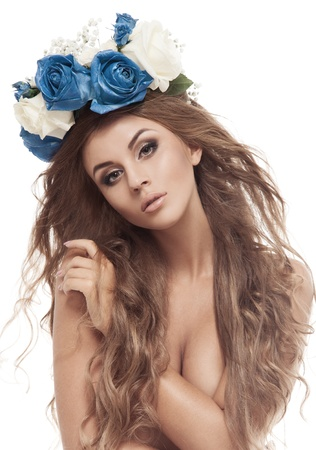 Beautiful Woman With Flower Wreath. Isolated.
