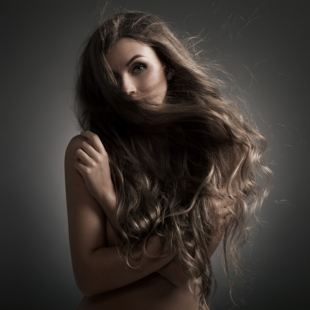 Beautiful Woman. Fluttering Long Hair. Stock Photo