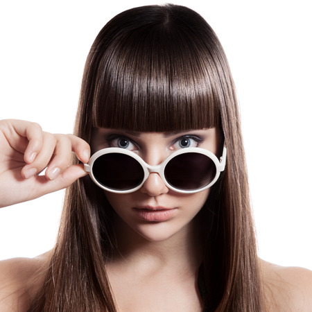 sunglasses isolated: Fashion Woman With Sunglasses. Isolated