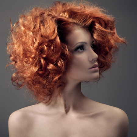 Fashion Portrait. Beautiful Woman. Curly Hair. photo