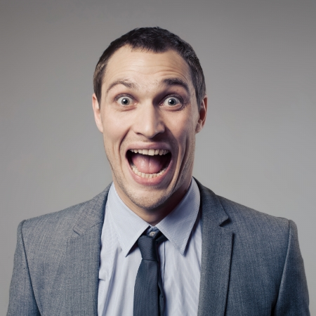 Happy Businessman Screaming photo